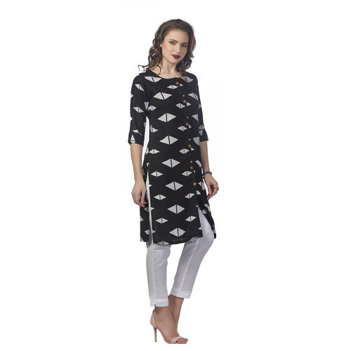Anora Women's Black Rayon Printed 3/4th Sleeved Straight Kurti
