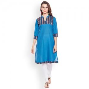 Rangeelo Rajasthan Women Blue Printed Straight Kurta