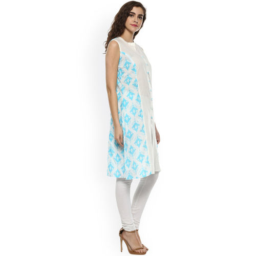 rangeelo rajasthan Women Blue & White Printed Straight Kurta