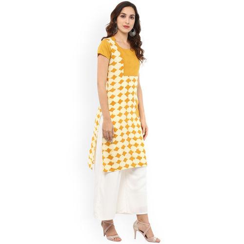 rangeelo rajasthan Women Yellow & White Printed Straight Kurta