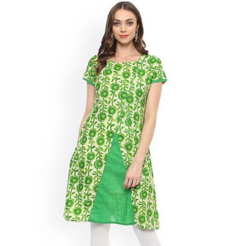 rangeelo rajasthan Women Green Printed A-Line Kurta