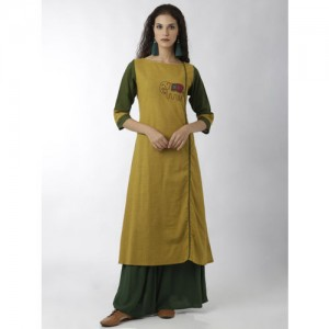 breya Women Mustard & Green Embroidered Straight Kurta