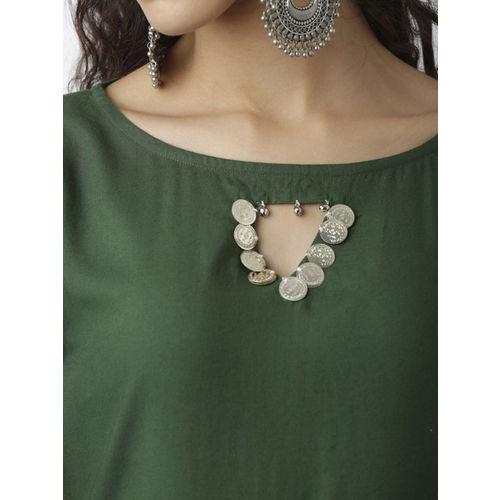 breya Women Green Embroidered Straight Kurta