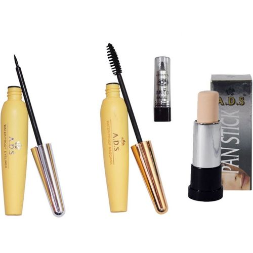 ADS Waterproof Eyeliner / Mascara / Pan Stick Concealer / Kajal(Set of 4)