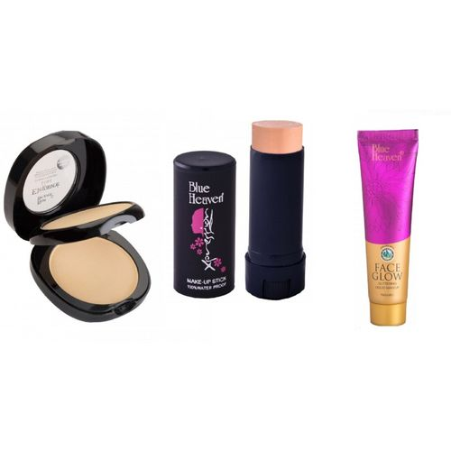Blue Heaven Elegance 2 IN 1 Compact Powder ,panstick concealer and face glow foundation(Set of 3)