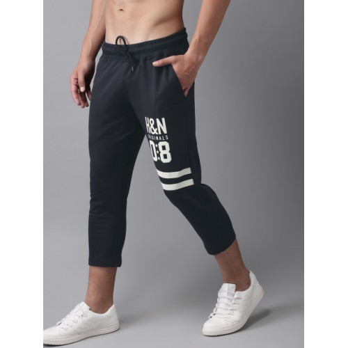 HERE&NOW Black Printed Three-Fourth Track Pants