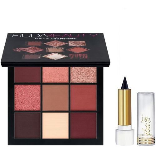 Huda Beauty Liquid Mattee EYE -PACK WITH MULTI COLORED EYE SHADOW PALETTE WITH PURE NATURAL KAJAL PACK(Set of 2)