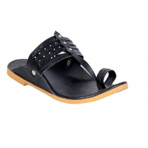 Panahi Black Daily Use Synthetic Slip On Kolhapuris