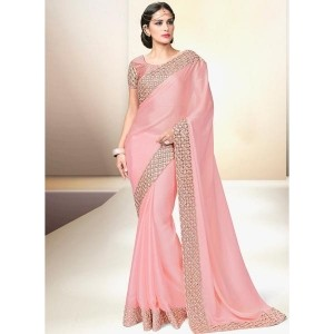 Mahotsav Peach Embellished Satin Saree