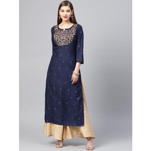 Juniper Women Embroidered Straight Kurta(Dark Blue)