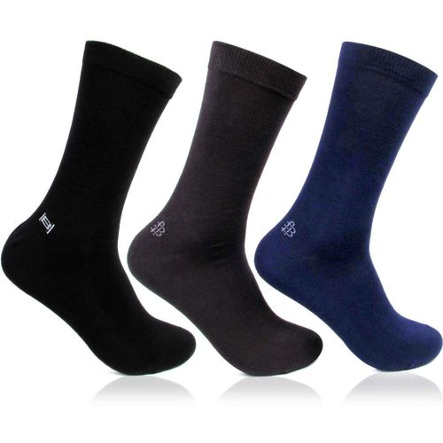 Bonjour Men's Solid Mid-Calf/Crew(Pack of 3)