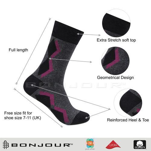 Bonjour Men's Multicolor Cotton Calf Length Socks Pack of 3