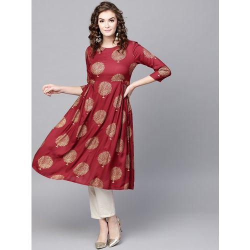 Sassafras Women Printed Flared Kurta(Maroon, Gold)