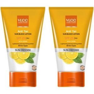 VLCC anti tan sun block lotion SPF 25 Pack Of 2 - SPF 25 PA+(300 ml)