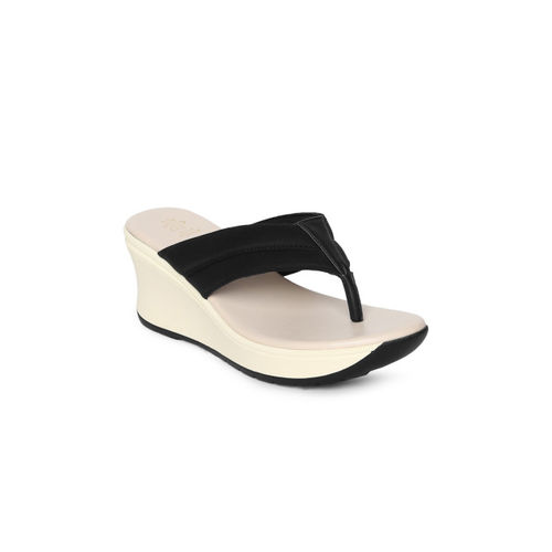 tresmode Women's Sedge Black Casual Slip on Wedges 3 UK/India /(36 EU)