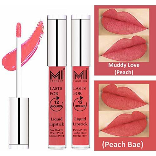 MI FASHION Liquid Matte Lipstick Peach,Peach Bae 3ml each (Combo of 2)