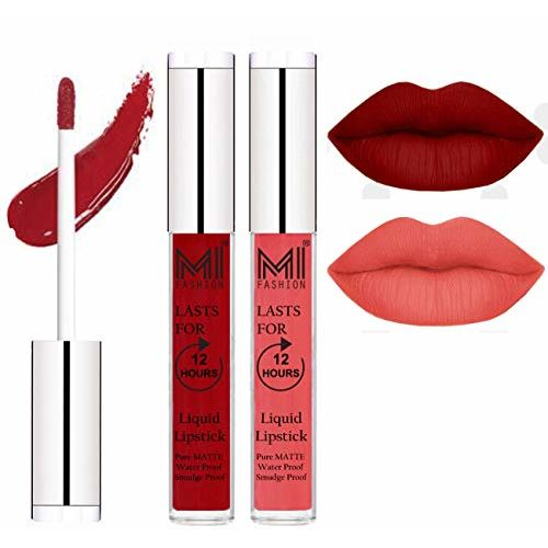 MI FASHION Liquid Matte Lipstick Eagle Red,Peach Bae 3ml each (Combo of 2)