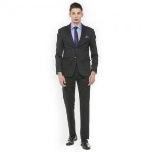 Peter England Elite Men Black Formal Suit