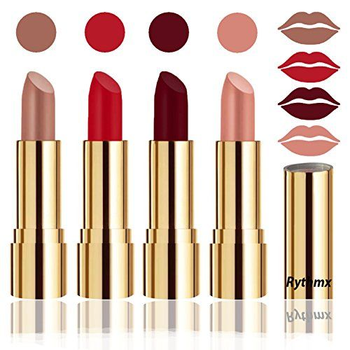 Rythmx Professional Timeless 4 Colors Collection Velvet Touch Matte Lipstick Long Stay on Lips(Peaches Skin Color, Blood Red, Maroon, Passion Peach)