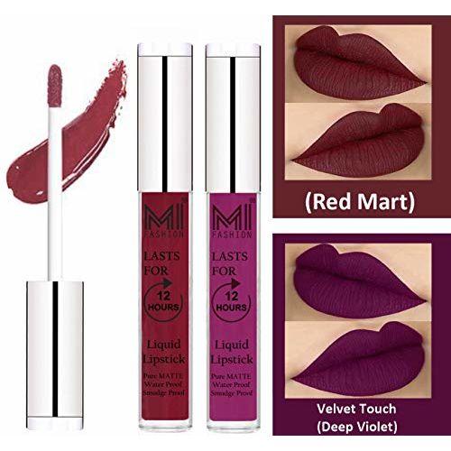 MI FASHION Liquid Matte Lipstick Red Mart,Deep Violet 3ml each (Combo of 2)