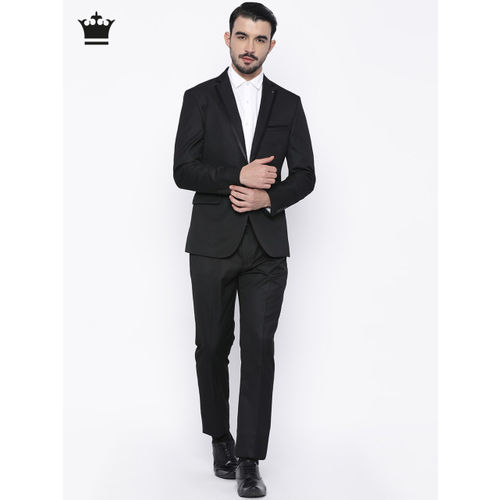 Louis Philippe Black Single-Breasted Milano Fit Formal Suit