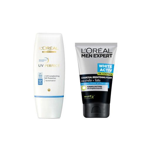 LOreal Paris Set of Men Anti-Spots Oil Control Charcoal Foam & UV Perfect SPF 50 Sunscreen