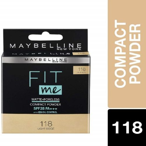Maybelline New York White Super Fresh Compact, Pearl, 8g + Maybelline New York Fit Me Matte with Poreless Foundation, 115 Ivory, 30ml