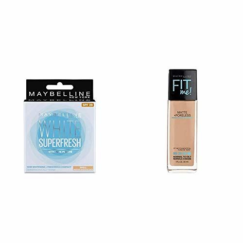 Maybelline New York White Super Fresh Compact, Shell, 8g+Maybelline New York Fit Me Matte with Poreless Foundation, 310 Sun Beige, 30ml+