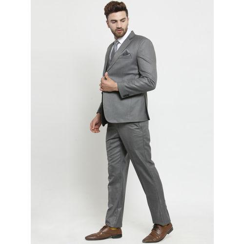 LUXURAZI Men Grey Solid Slim Fit Suit