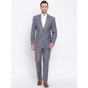 PLATINUM Studio Men Grey Solid Single-Breasted Slim-Fit Formal Suit