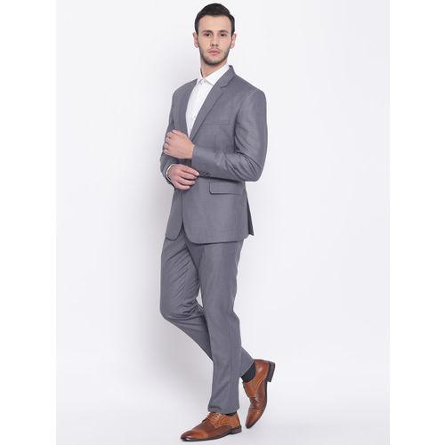 PLATINUM Studio Men Grey Solid Single-Breasted Slim-Fit Formal Suit