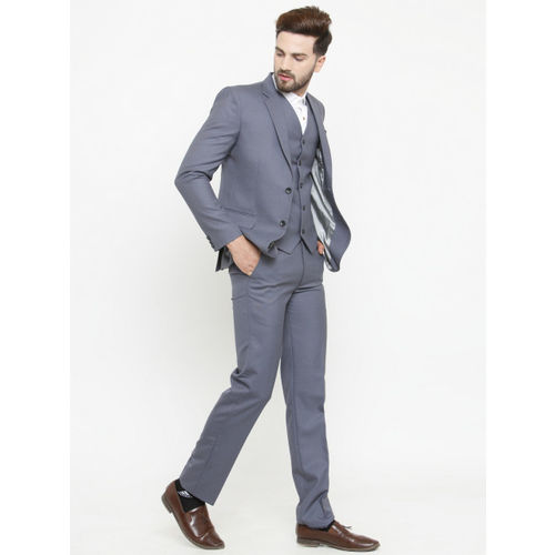 LUXURAZI Grey Solid Single-Breasted Formal Suit