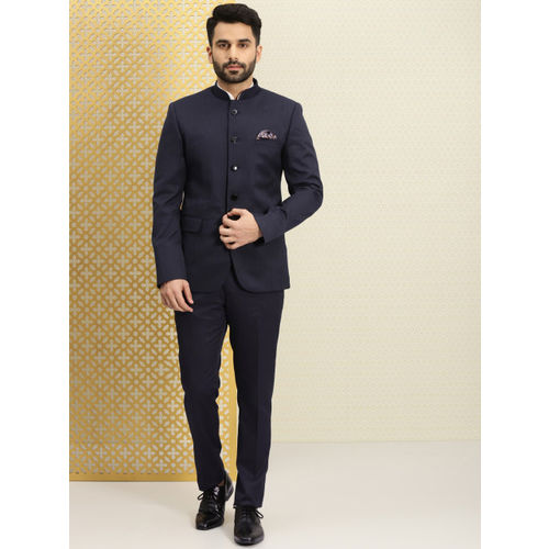 House of Pataudi Men Navy Blue Striped Bandhgala Ethnic Suit with Printed Pocket Square