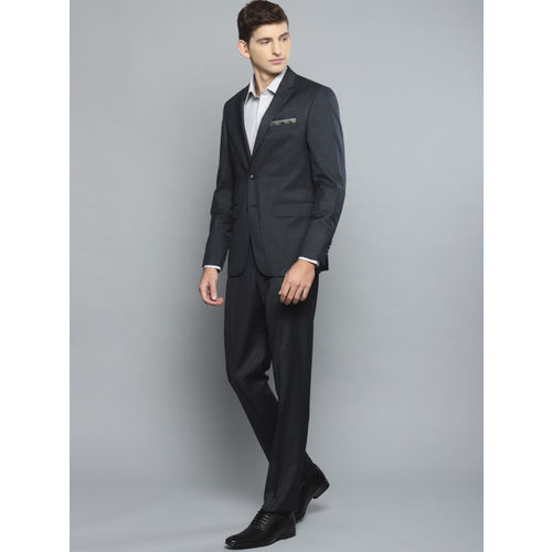 Louis Philippe Men Navy Blue Solid Single-Breasted Slim Fit Formal Suit