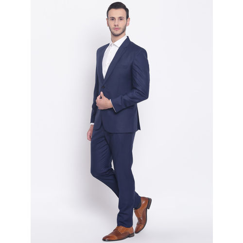 PLATINUM Studio Men Navy Blue Solid Single-Breasted Slim-Fit Formal Suit