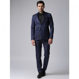 True Blue Men Navy Single-Breasted Regular Fit Formal Suit