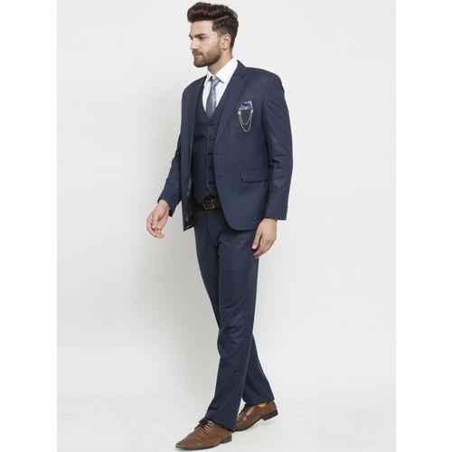 LUXURAZI Men Blue Solid Slim Fit Suit