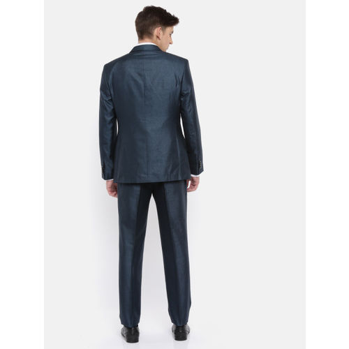 Park Avenue Men Teal Blue Solid Slim Fit Single-Breasted Party Suit