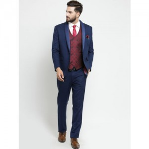 LUXURAZI Men Blue & Maroon Slim Fit Shawl Collar Single Breasted Suit