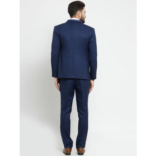 LUXURAZI Men Blue & Maroon Slim Fit Shawl Collar Single Breasted Suit
