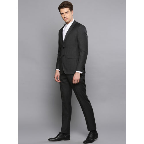 Louis Philippe Men Charcoal Grey Self-Design Single-Breasted Slim Fit Formal Suit