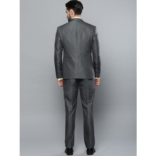 Louis Philippe Men Charcoal Grey Solid Single-Breasted Slim Fit Formal Suit