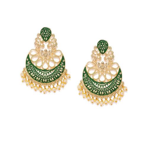 Rubans Gold-Plated & Green Crescent-Shaped Chandbalis