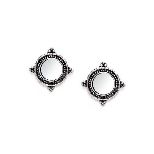 Rubans Silver-Plated Oxidised Mirror Circular Studs