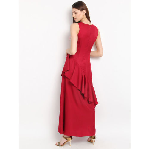 Marie Claire Women Maroon Solid Maxi Dress
