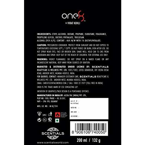 One 8 by Virat Kohli INTENSE Perfume Body Spray For Men, 200 ml