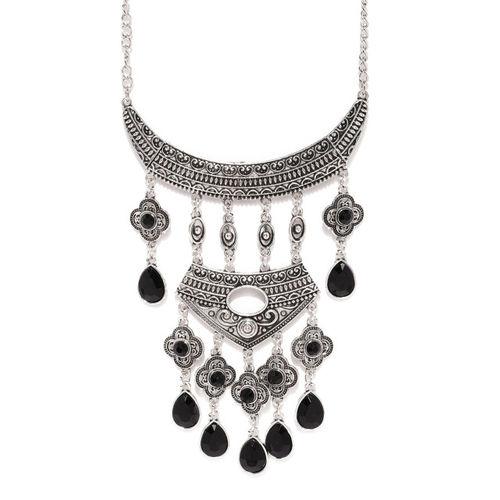 Ayesha Silver-Toned & Black Oxidised Rhinestone Studded Necklace