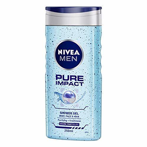 NIVEA MEN Pure Impact Shower Gel, 250ml, (Hair, Face & Body Wash)