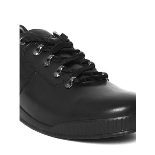 Woodland Men Black Nubuck Leather Sneakers