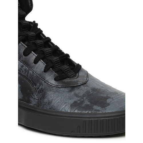Puma Men Black Breaker Reptile Printed Leather Mid-Top Sneakers